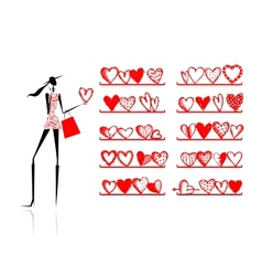 Valentine day Girl in shop with hearts vector image vector image