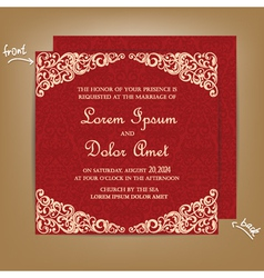 Wedding card red vector
