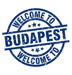 Welcome to budapest blue stamp vector
