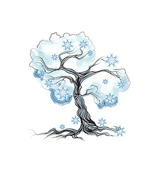 Winter tree on white vector
