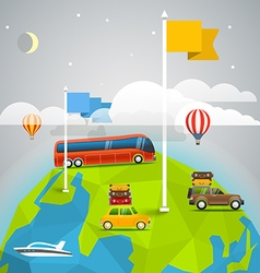 World map with color flags and transport design vector