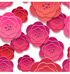 Paper rose flowers 3d pattern vector