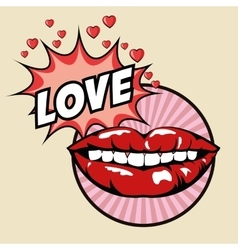Love mouth explosion pop art design vector