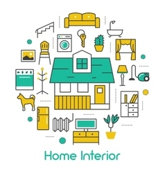 House interior line art thin icons set vector