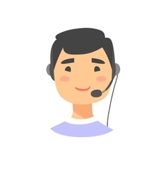 Portrait of happy smiling male customer support vector image