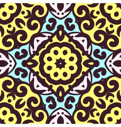 Seamless pattern with bright ornament tile in vector
