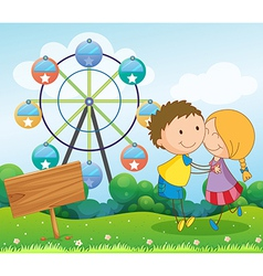A couple dating near the ferris wheel and the vector image