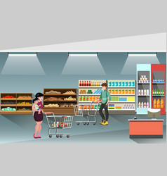 supermarket with people shopping and buying vector image
