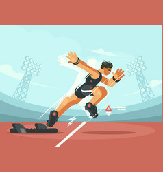 Athlete sprint start vector