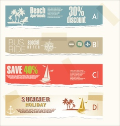 Summer banner torn paper set vector