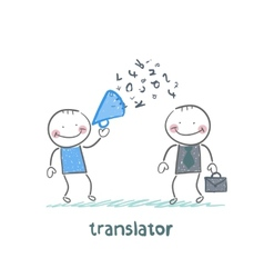 translator listens as businessman shouting into a vector image