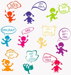 Kids with chat bubbles with sale messages vector