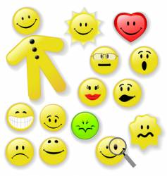 Smiley face button emoticon family vector