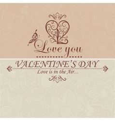 Valentines day type text calligraphic headline vector