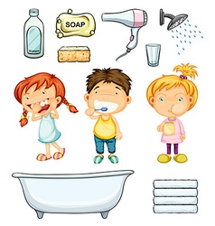 Children and bathroom set vector