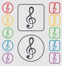 Treble clef icon symbols on the round and square vector
