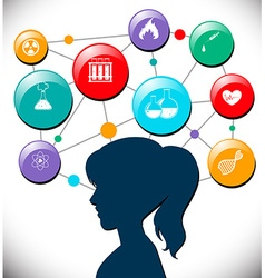 Woman with science icons diagram vector image