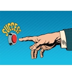 The red success button hand presses vector