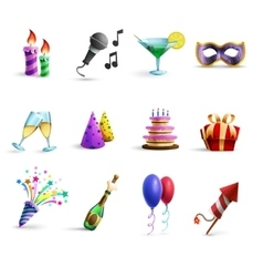 Celebration colorful cartoon style icons set vector