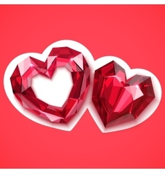 Two ruby hearts angular vector