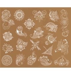 Tattoo henna element set vector