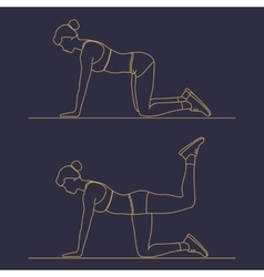 Sport fitness woman exercise workout silhouettes vector