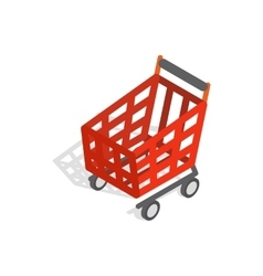 Basket on wheels for shopping icon vector