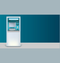Bank cash machine apparatus for withdrawing is on vector