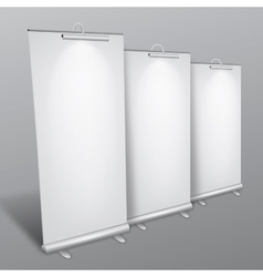 Blank roll up banners collection vector image
