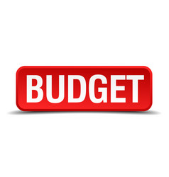 Budget red three-dimensional square button vector
