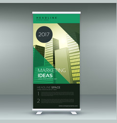 business roll up banner design template in green vector image