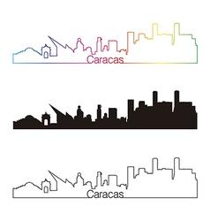 Caracas skyline linear style with rainbow vector