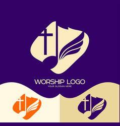 Cross of jesus musical note and wing vector