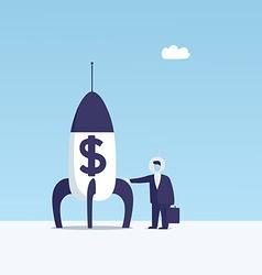 dollar rocket vector image