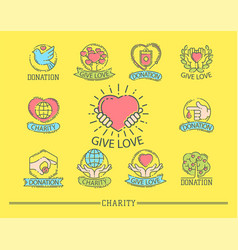 donate money set logo icons help icon donation vector image