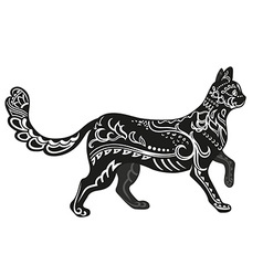 Ethnic ornamented cat vector image vector image