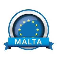 Eu flag button with malta ribbon vector