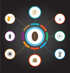Flat icons moka pot cappuccino saucer and other vector
