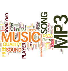 free mp player song text background word cloud vector image vector image