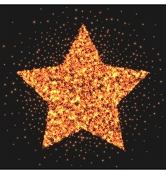 Gold star logo sparkling effect Star burst of vector image