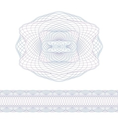 Guilloche decorative elements and border vector image vector image