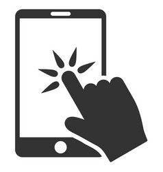 hand click smartphone flat icon vector image vector image