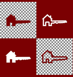Home key sign bordo and white icons and vector