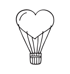Hot air balloon heart vector