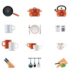kitchenware icon set vector image vector image