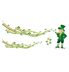 Leprechaun creating fairy from ribbons and colvers vector