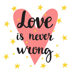 Love is never wrong inspirational quote hand vector