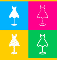 Mannequin with dress sign four styles of icon on vector