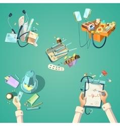 Medical cartoon retro set vector image vector image