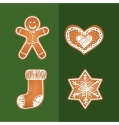 Merry christmas cookies card vector image